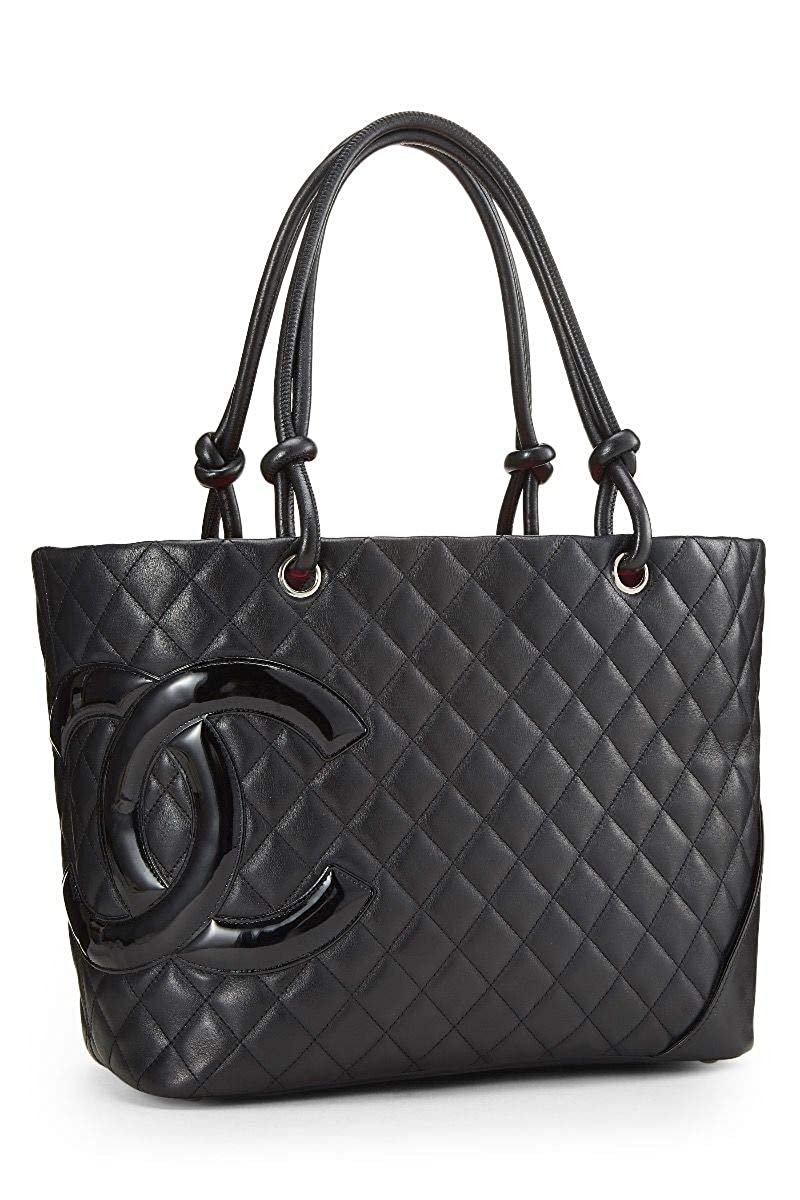 c9fa50ce69aa Amazon.com: CHANEL Black Quilted Calfskin Cambon Ligne Tote Large  (Pre-Owned): Shoes