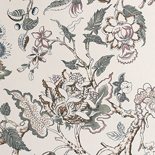 H.VERSAILTEX Window Valance Rustic Style Ultra Soft Material Suits Kitchen Bath Laundry Bedroom Living Room (Rod Pocket, 58 15 inch, Vintage Floral Pattern in Sage Brown, Set of 1) by H.VERSAILTEX (Image #1)'