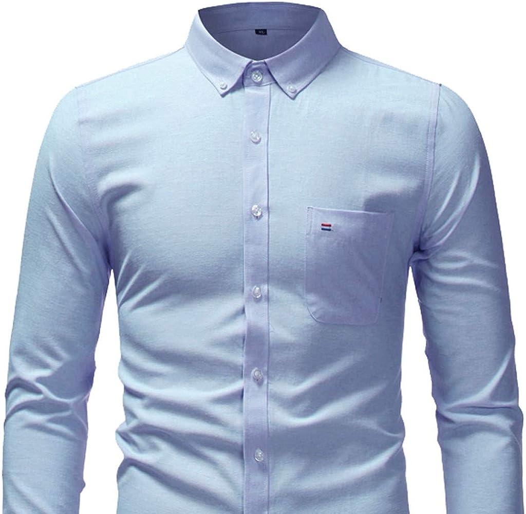 Sencillo Vida Camisa para Hombre Manga Larga Formales Slim Fit Camisas de Hombre de Vestir Color Sólido Casual Camisa Hombres Clásico Cuello de Solapa con Botones Camiseta Básica Shirts: Amazon.es: Ropa y