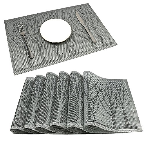 HEBE Washable Placemats for Dining Table Heat Insulation Kitchen Table Mats Set of 6 Stain Resistant Woven Vinyl Place Mats (Family Tree Of Life Plate)