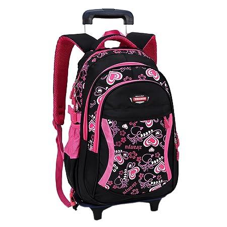 3c09ef69fc ZEVONDA Kids Lovely Heart Trolley Backpack School Bag Luggage Shoulder Bags  Removable for Primary Students Girls