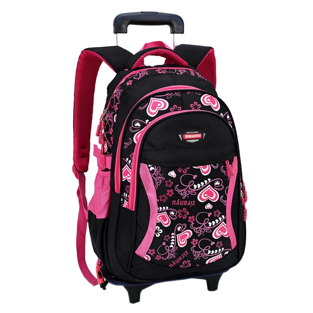 KINDOYO Kinder Mädchen Schultrolley - Schulranzen mit Abnehmbar Rollen Schultasche Schulrucksack Trolley Rucksack mit Rollen, Schwarz