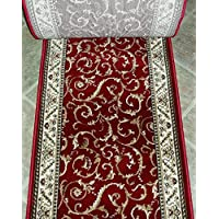 150279 - Rug Depot Radici Como 1599 Red Traditional Hall and Stair Runner - 26 Wide Hallway Rug Runner - Custom Sizing - Red Background - Choose Your Length - 26 x 9 feet