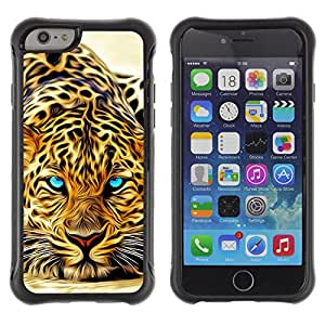 WAWU Funda Carcasa Bumper con Absorci??e Impactos y Anti-Ara??s Espalda Slim Rugged Armor -- tiger animal Africa predator eyes -- Apple Iphone 6 PLUS 5.5