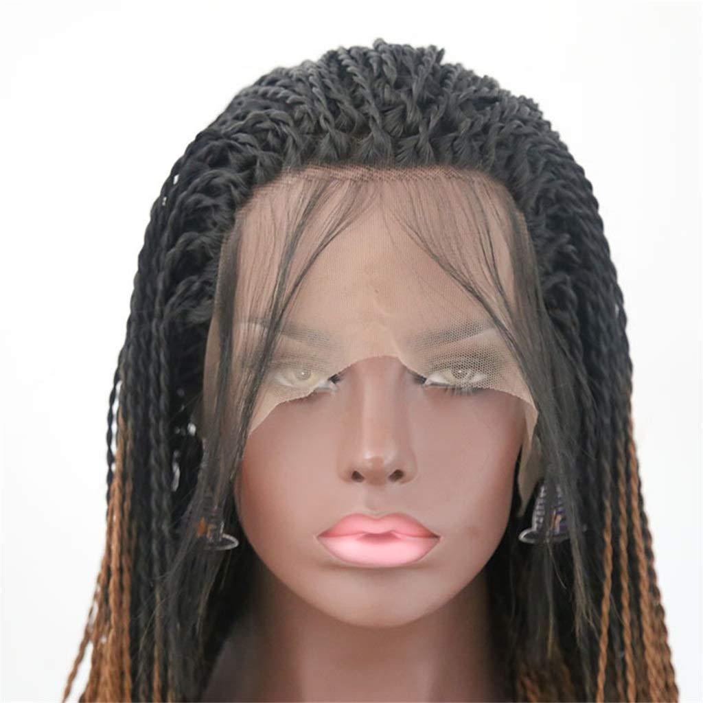 JYA SILK Peluca, Negro y marrón Moda Mujer Trenzas Mujer Africana Cordón Peluquín (Tamaño : 20 inch/508 mm): Amazon.es: Hogar