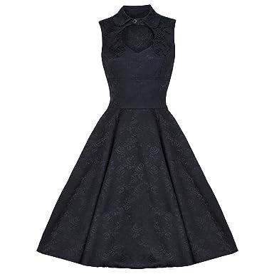 Pretty Kitty Fashion 50s Schwartz Kleid, Schwarz, S 36: Amazon.de ...