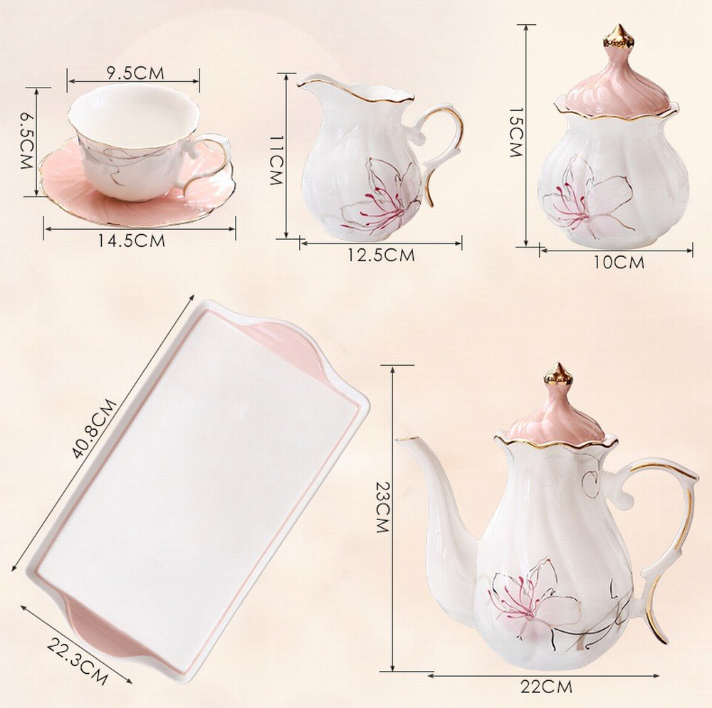 DHG European-Style Afternoon Tea Tea Set Home Coffee Cup Ceramic Teapot Set Flower Cup Wedding Tea Gift,A by DHG (Image #2)