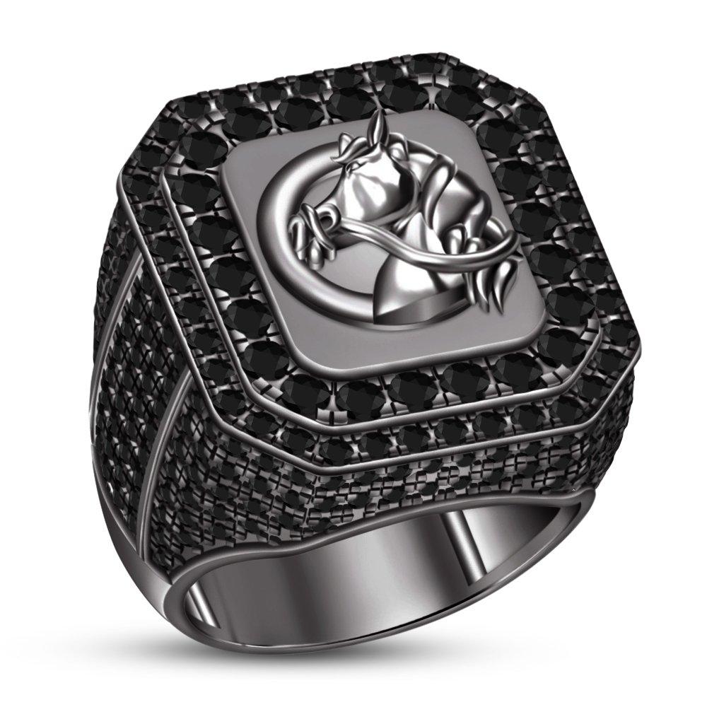 TVS-JEWELS Glorious Balck Rhodium Plated Sterling Silver Black Stone Horse Wedding Anniversary Ring (10.75)