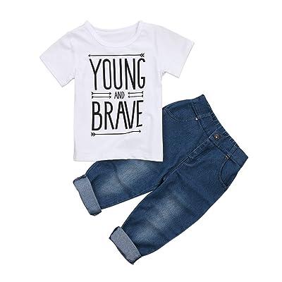 7de1c79e786 wdgyjt Toddler Kids Baby Boy T-Shirt Tops Denim Pants Trousers Outfits  Clothes Set 2Pcs