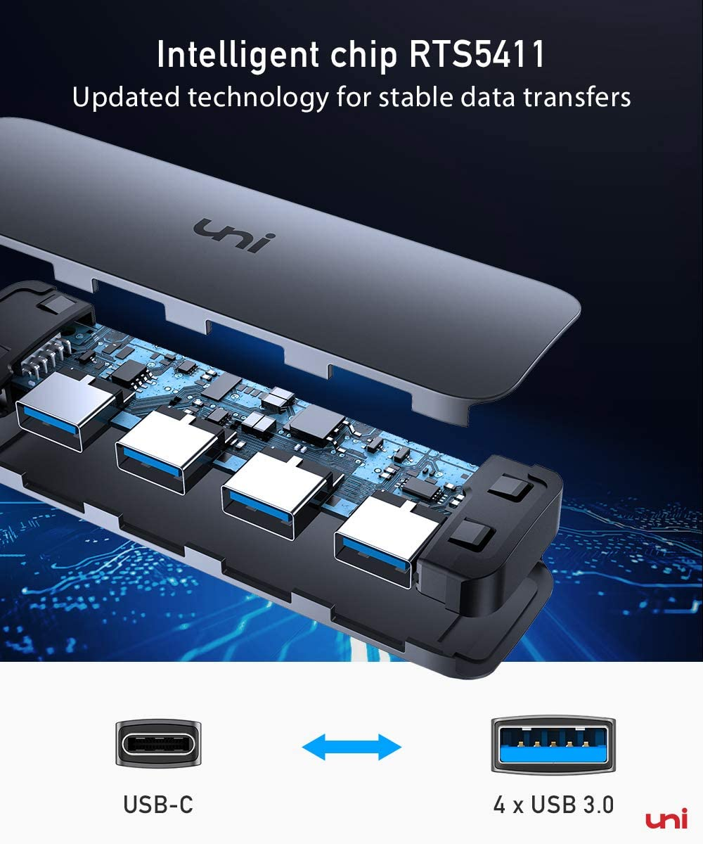 uni USB C to USB Hub 4 Ports, Aluminum USB Type C to USB Adapter with 4 USB 3.0 Ports, Thunderbolt 3 to Multiport USB 3.0 Hub Adapter for MacBook Pro/Air 2020/2019, iPad Pro, Dell, Chromebook and more