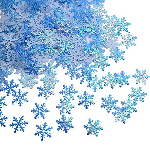 Snowflakes Confetti for Christmas Wonderland Winter Frozen Party Blue Color with Iridescent Finish 600 Pcs -