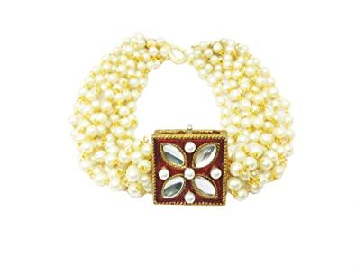 Buy AccessHer Pearl and Kundan Hand Bracelet Bangle for Women at Amazon.in