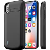 Cofuture iPhone X/XS Battery Case, 5000mAh Extended Battery Charger Portable Charging Case Support Lightning Headphone with Pop-Out Kickstand Lightning Port Input,Black