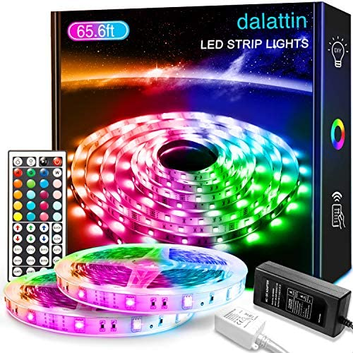 65.6ft Led Lights for Bedroom dalattin Led Strip Lights Color Changing Lights with 44 Keys Remote,2 Rolls of 32.8ft
