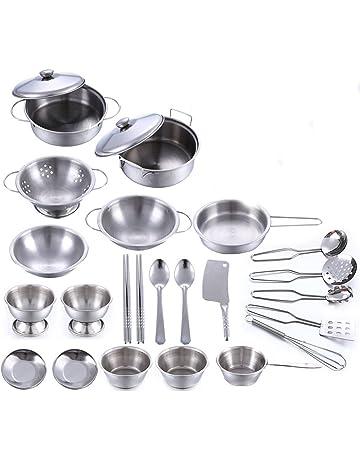 BSPAS Juguetes de Cocina 25 Piezas Acero Inoxidable Metal Utensilios de Cocina Batería de Cocina para