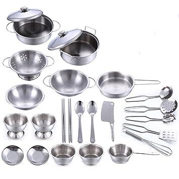 MAJOZ 25 Piezas Juguetes de Cocina Acero Inoxidable Utensilios de Cocina Batería de Cocina con ollas y sartenes para Niños (Plata)