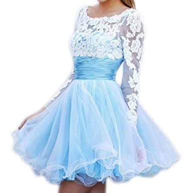 Love Dress A-line/Princess Scoop Long Sleeves Applique Short/Mini Prom Dresses