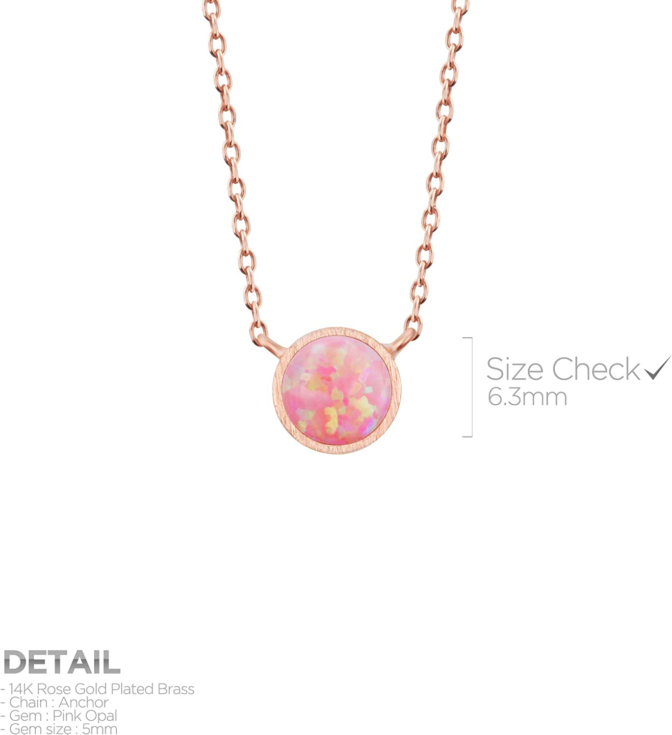 Synthetic Pink Opal Bar Necklace Gold-plated Sterling Silver Adjustable Length