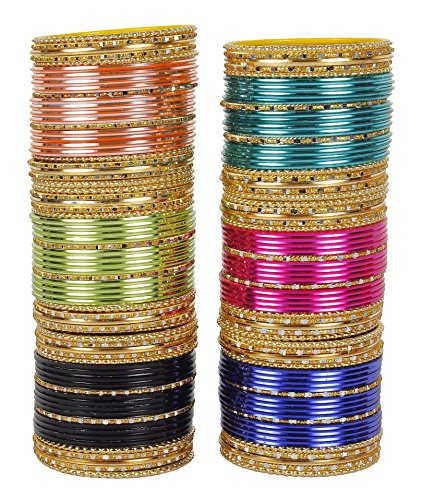 MUCH-MORE Indian Traditional Plain Metal Bangles Box Bracelets Indian Costume Partywear Jewelry for Women (77, 2.4)