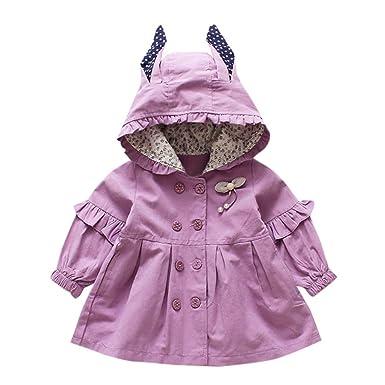 Xmiral Chaqueta para Niñas Bebes con Capucha Orejas Lazo Decorativo Estilo Vestido de Botones Abrigo Fiesta