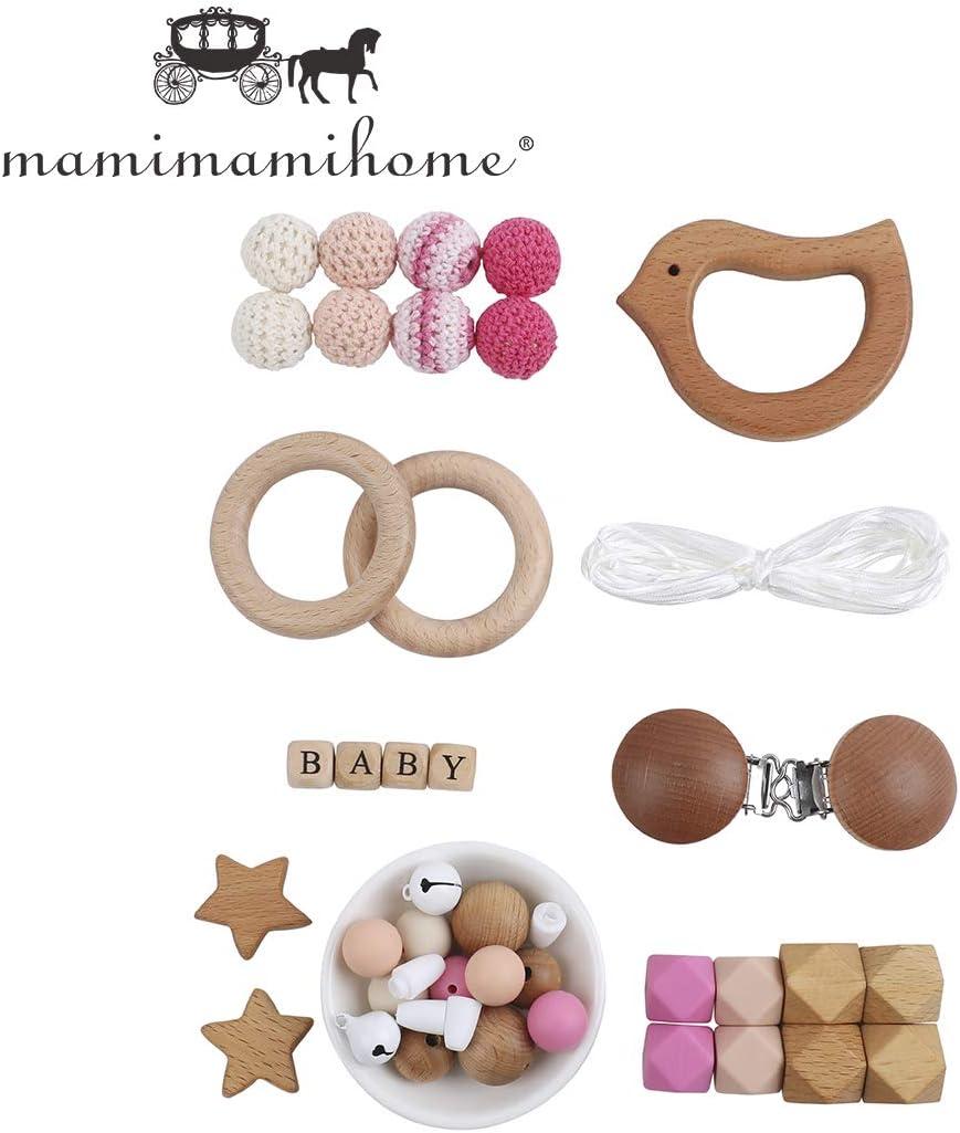 Mamimami Home DIY Juego De Dentición Para Bebés Collar De Silicona Para Lactancia Pulsera De Cuentas De Ganchillo Aceite De Oliva De Madera Pájaro Campana Chupete Clips Juguetes Montessori