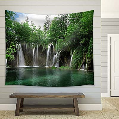 Alluring Portrait, Beautiful Waterfalls with Green Trees, Classic Artwork