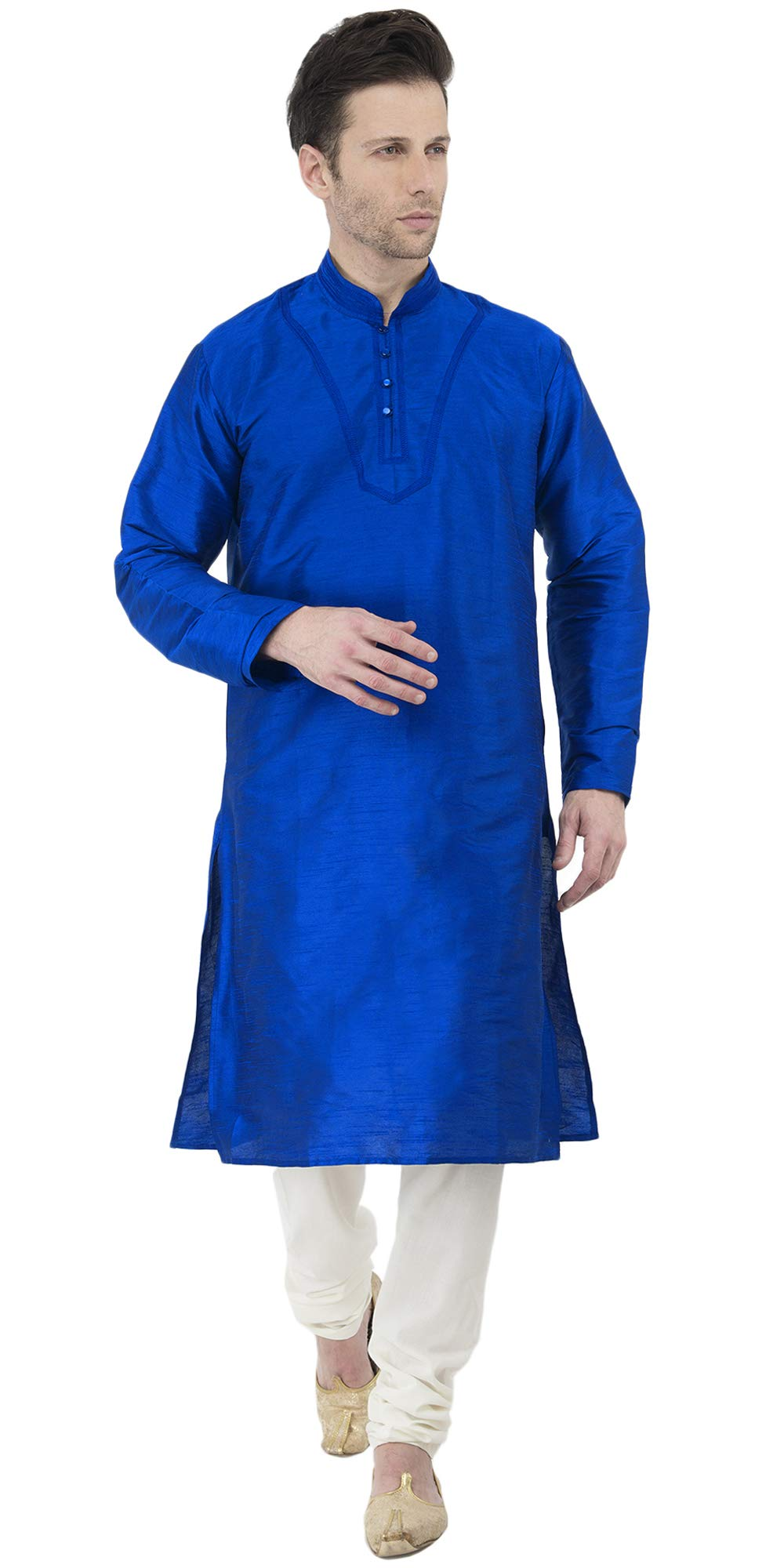 Kurta Pajama Long Sleeve Button Down Dress Shirt Indian Men Wedding Ethnic Casual Dress Traditional Set -XL