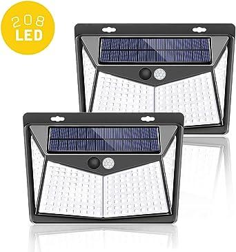 Luz Solar Exterior 208 LED【2020 Última versión】,Luces LED Solares Exteriorescon sensor movimiento lluminación Focos Solares Exterior Impermeable Lampara Solar para Exterior Jardin (2 Pack): Amazon.es: Iluminación