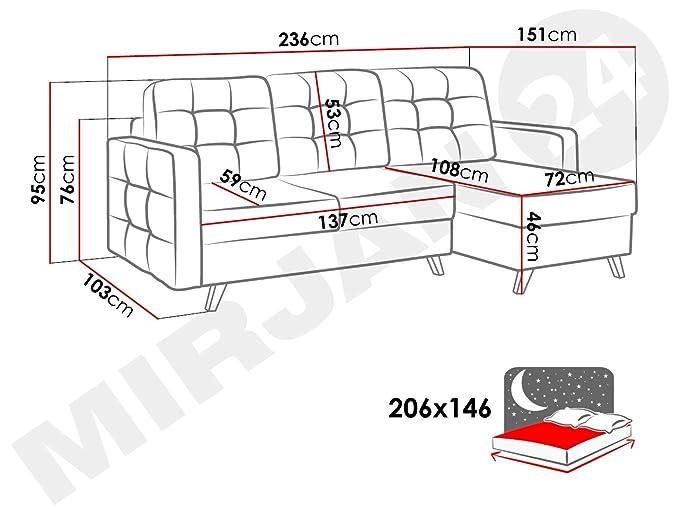 Mirjan24 - Sofá esquinero Microfibra Fuego 166, 236 x 151 x ...