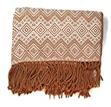Luxury handmade Alpaca Throw Blanket by Peruvian Accent. Brown and Bone color. Free 4 day shipping to USA.
