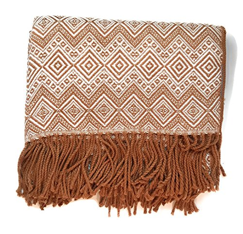 Price comparison product image Luxury handmade Alpaca Throw Blanket by Peruvian Accent. Brown and Bone color. Free 4 day shipping to USA.