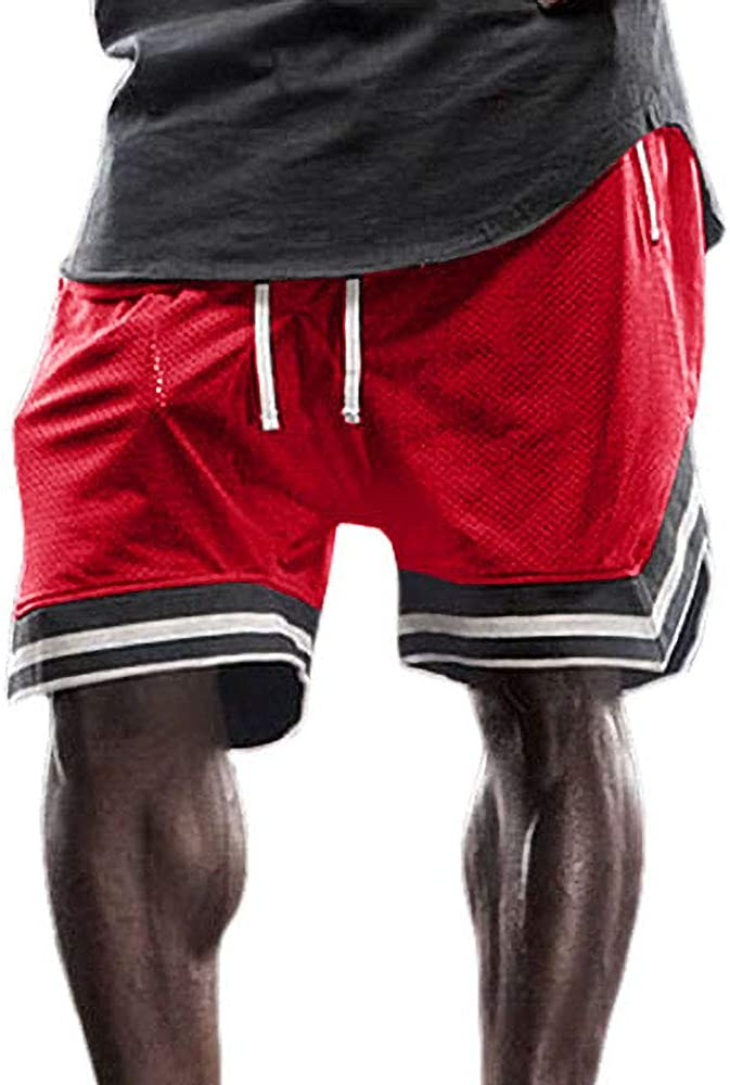 Gafeng Mens Basketball Gym Running Shorts Workout Elastic Waist Drawstring Quick-Dry Mesh Shorts with Zipper Pocket