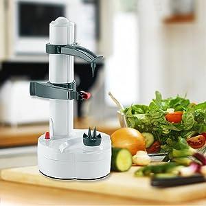 Stainless Steel Electric Fruit Peeler,Automatic Peeler Potato Fruit Apple Pear Veg Peeling Machine + 2 Blades (NO ADAPTER)