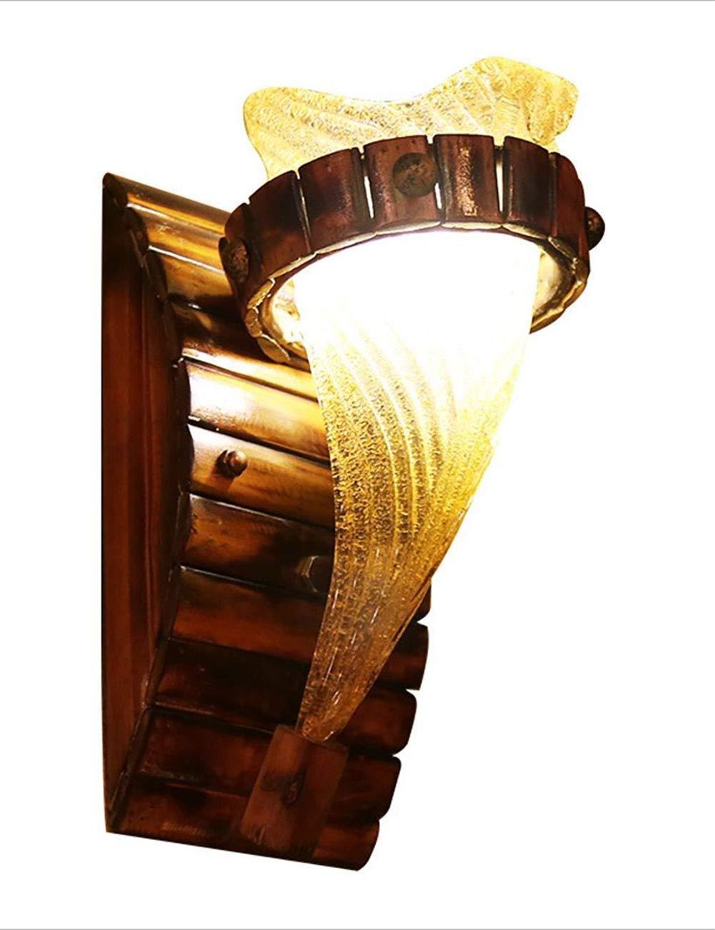 Irinay Loft Vintage Wandleuchte Bambus Kreative Beleuchtung Wandleuchten Led E27 Kappe Bar Wohnzimmer Restaurant Retro Glas Lampenschirm Wandleuchte (Farbe   Colour-Größe)