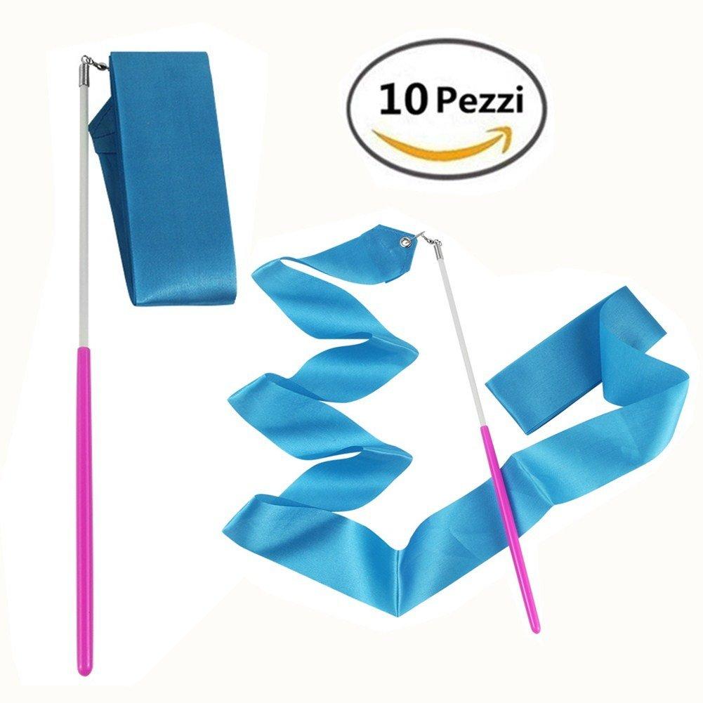 MUROAD 10 pezzi 2 metri di lunghezza Palestra Nastro per ginnastica ritmica, Danza nastri di Ginnastica Ritmica Streamer Baton Twirling Rod seta Attrezzi per Bambini (Blu)