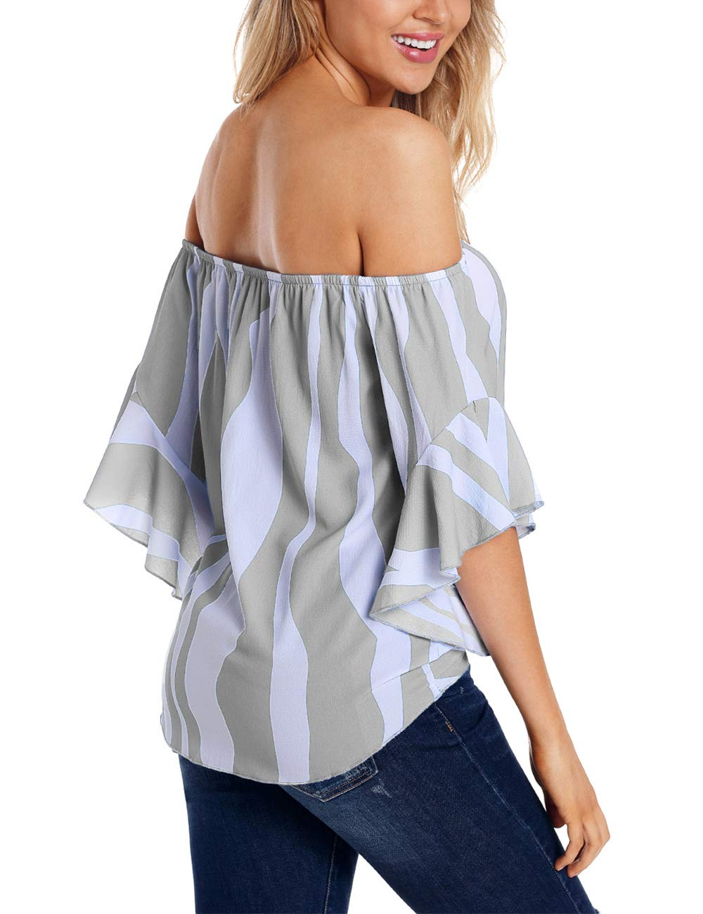 RSM &CHENG Women's Striped Off Shoulder Bell Sleeve Shirt Tie Knot Casual Blouses Tops(Stripe Grey,L)