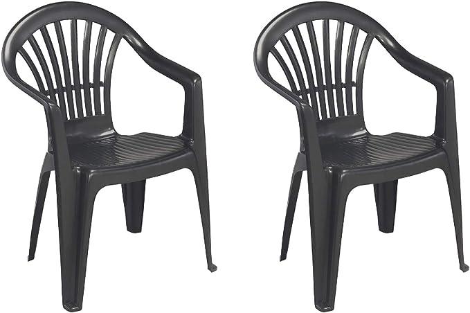 Mojawo Set di 2 sedie impilabili da Giardino Altea, in plastica, impilabili, per Balcone e Giardino, Antracite