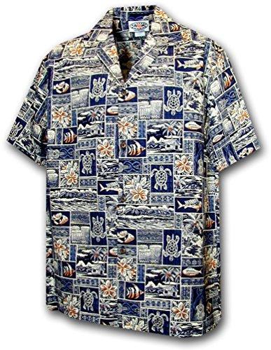 Pacific Legend Boys Woodie Surfboard Shirt (Medium, Medium,Navy W/Box Pattern)