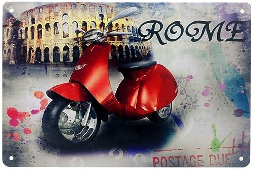 Ayiguri Retro Tin Sign Beer Creative Metal Vintage Wall Decor Art Plaque Souvenir Home Bar Cafe Bar 12 X 8 Inches Roman Red Motorcycle