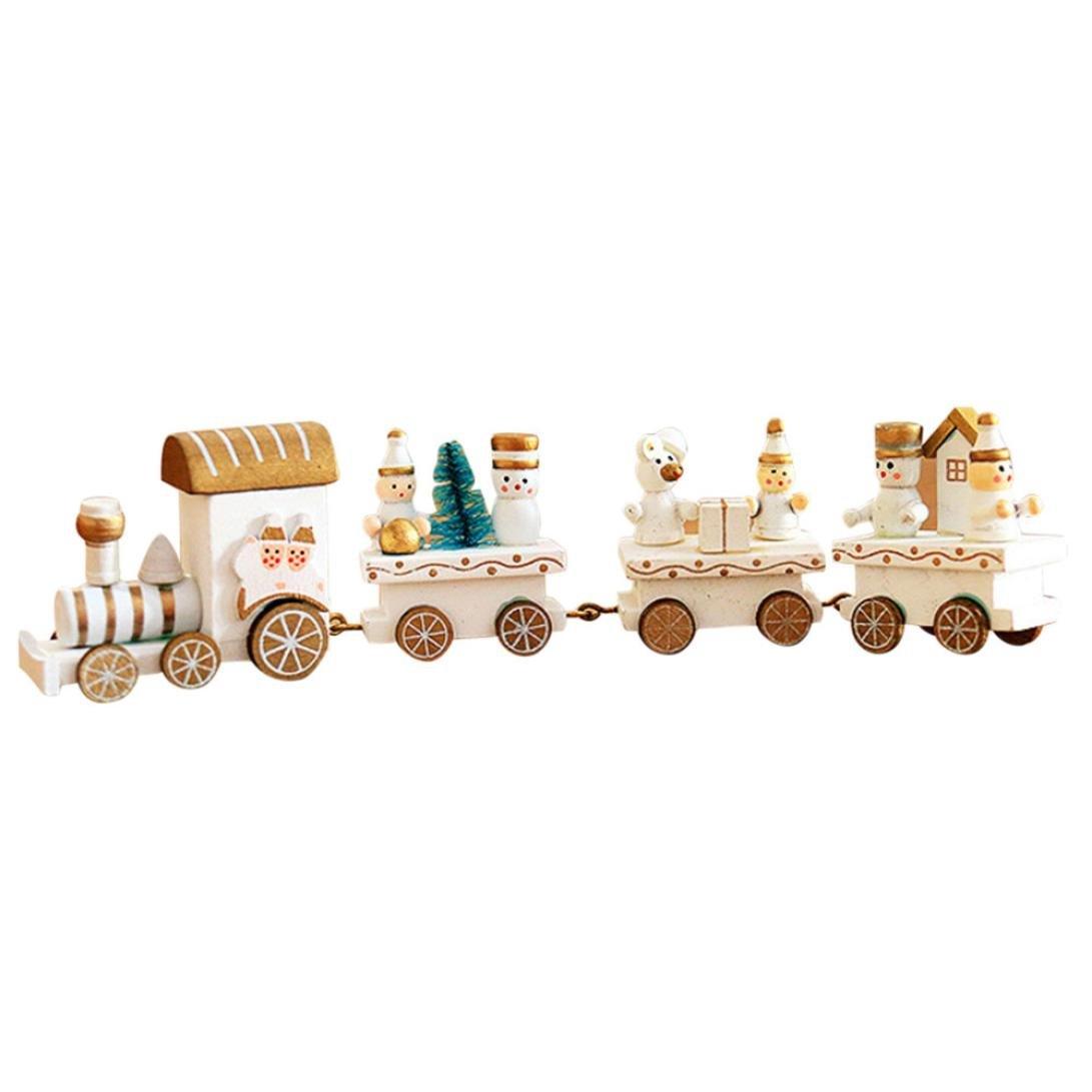 Train de Noel HIver Holiday Train en Bois Enfant Cadeau Noël Decoration (C) Ouneed®