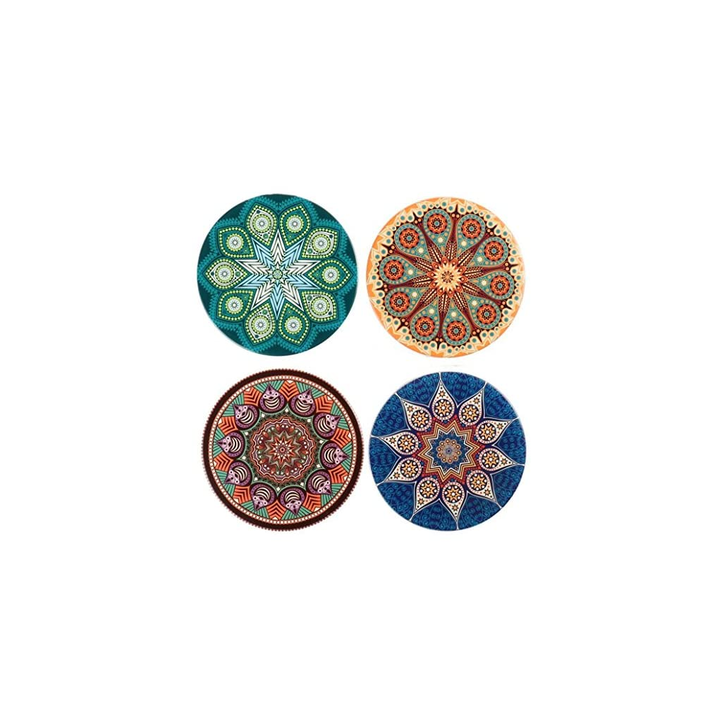 Absorbent Ceramic Coasters for Drinks,Sandstone Coaster 4 Pack Cute Coffee Mats with Cork Base Prevent Furniture from Dirty and Scratched,Housewarming Gifts for New Home.