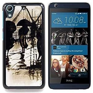 """Lluvia Retro Pintura del vintage Arte"""" - Metal de aluminio y de plástico duro Caja del teléfono - Negro - HTC Desire 626 626w 626d 626g 626G dual sim"""