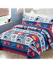 Better Home Style Red White and Blue Varsity MVP Sports Themed Kids/Boys/Toddler Coverlet Bedspread Quilt Set with Pillowcases and Football Soccer and Basketball Imagery # 2018282 (Twin)
