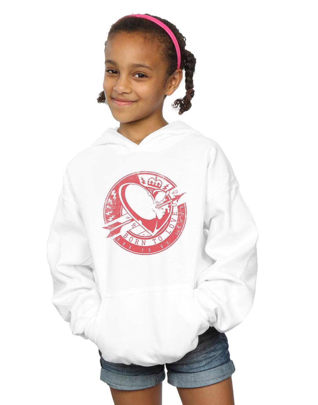 Drewbacca Girls Born to Love Hoodie White 12-13 Years