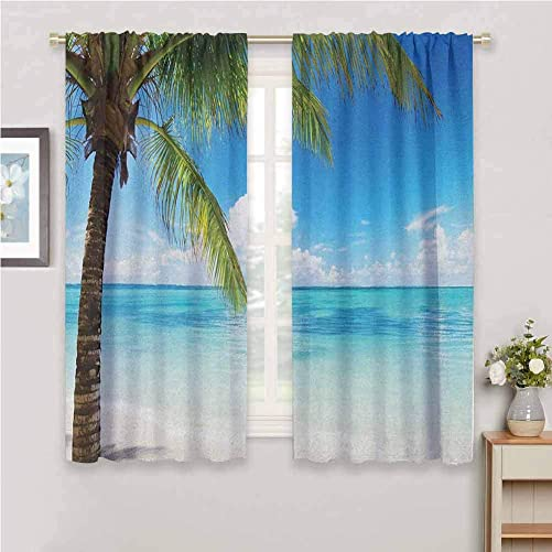 Jinguizi Ocean Drapes Panels Exotic Beach Water and Palm Tree