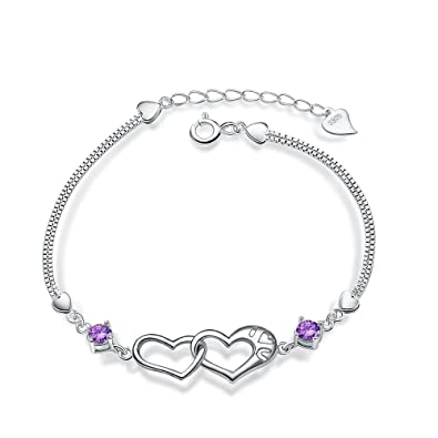 Weeno 925 Sterling Silver Linked Hearts in Love with Cubic Zirconia Bracelet for Women's and Girls 0ziuIYs8RU