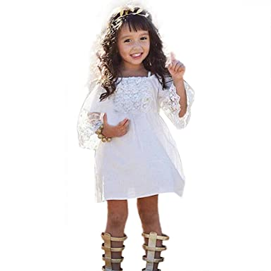 HotMoon Baby Girls Off Shoulder O-Neck Short Sleeve Lace Princess A-Line Party