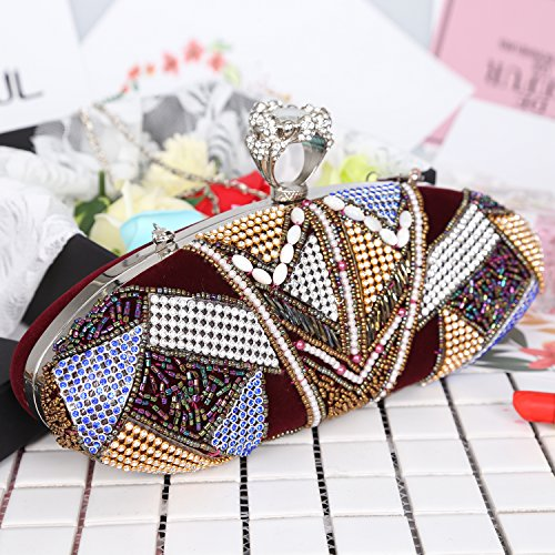 Duster Rhinestone Handbags Sequin Clutch Red Crystal Beaded Evening Bag Wine Flannelette Knuckle Studded Ring TBHaqI
