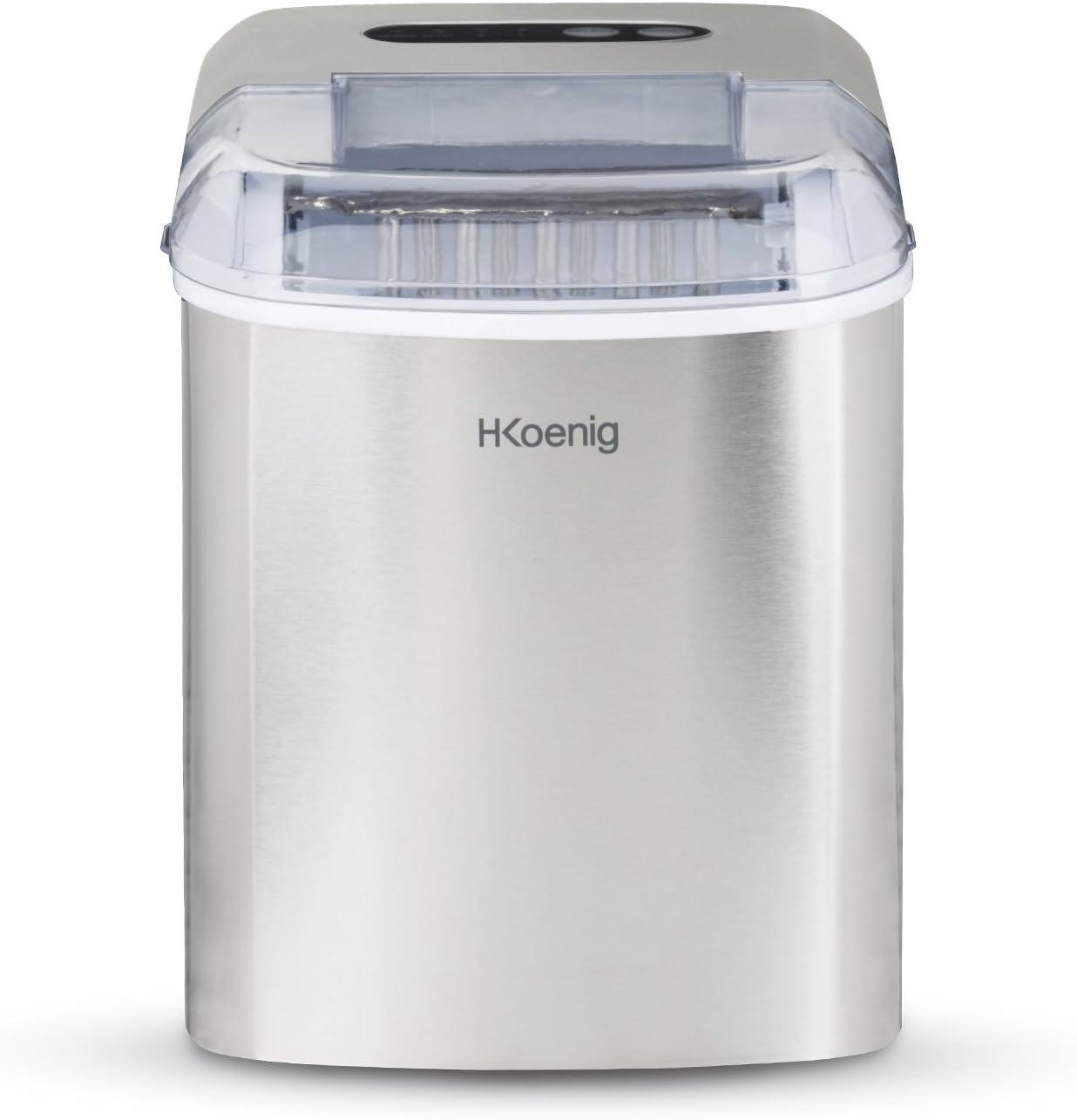 H.Koenig Máquina para Hacer Hielo, Silenciosa, 120 W, Capacidad 12 ...