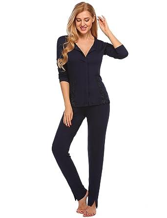 f7ab86c581 Schlafanzug Damen Baumwolle Langarm Pyjama Set modal stillen mit  Knopfleiste Nachtwäsche Sleepwear